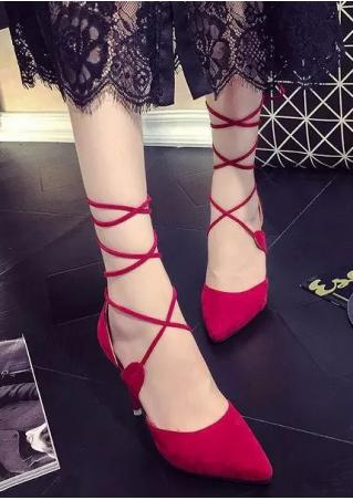 Solid Lace Up Pointed Toe Heels