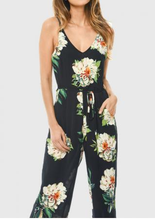 Floral V-Neck Jumpsuit with Belt