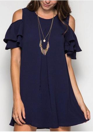 Solid Layered Cold Shoulder Mini Dress without Necklace