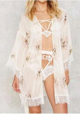 Floral Lace Splicing Sleepwear with Belt