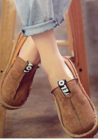 Letter Round Toe Flat Shoes
