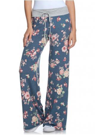 Floral Drawstring Wide Leg Pants