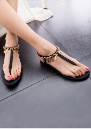 Chain T-Strap Flat Sandals