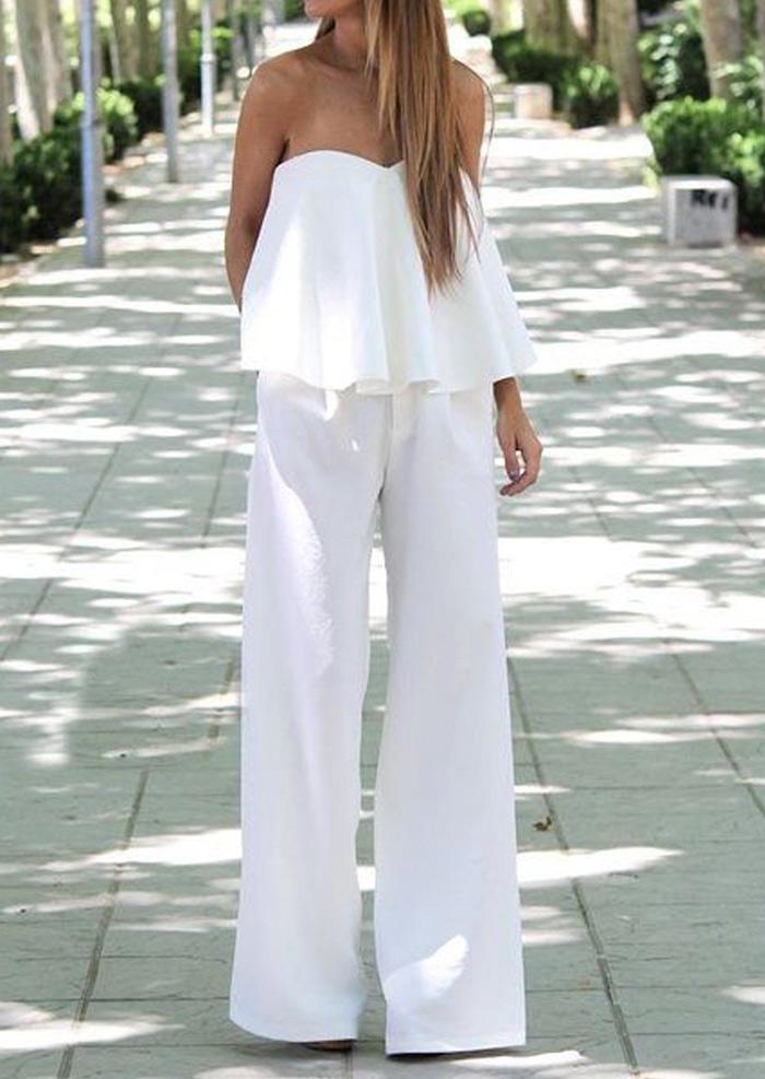 Solid Off Shoulder Blouse and Wide Leg Pants Set