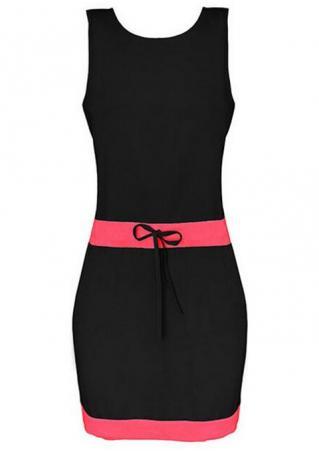 Splicing Tie Sleeveless Bodycon Mini Dress