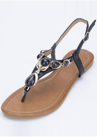 Rhinestone Buckle Strap Sandals