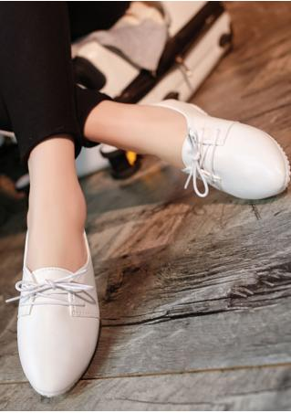 Solid Lace Up Flat Shoes