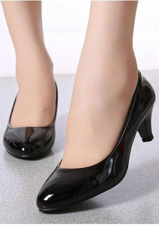 Solid Round Toe Pump Heels