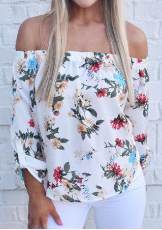 Floral Off Shoulder Tab-Sleeve Blouse