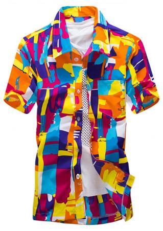 Printed Button Short Sleeve Shirt