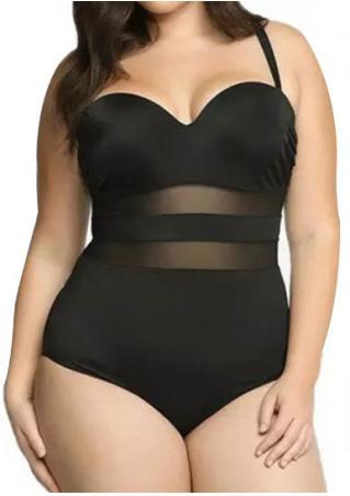 Mesh Splicing Plus Size Swimsuit