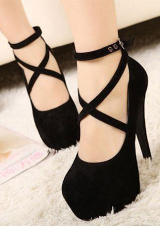 Cross Buckle Strap Platform Heels