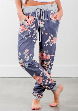 Floral Drawstring Pockets Pants