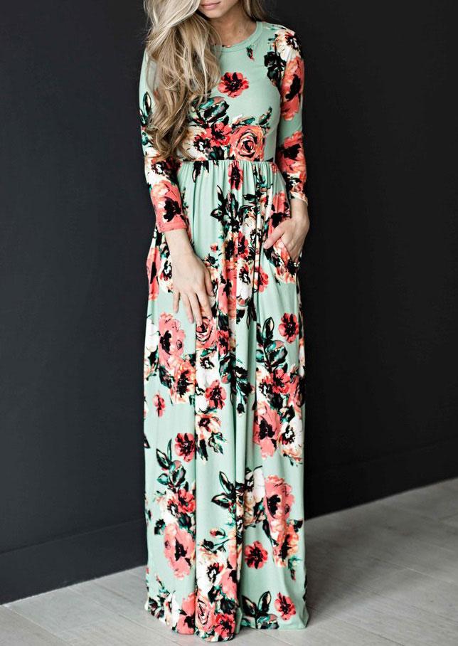 42d620bfa5d Floral Floor-Length Maxi Dress - Bellelily