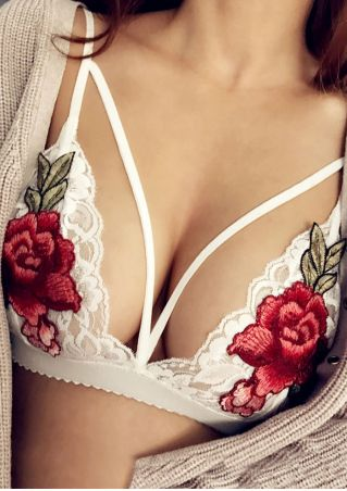 Applique Lace Floral Hollow Out Bra
