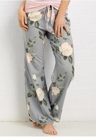 Floral String Wide Leg Pants