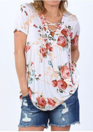 Floral Lace Up Ruffled Blouse