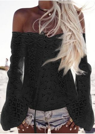 Solid Lace Floral Off Shoulder Blouse without Necklace