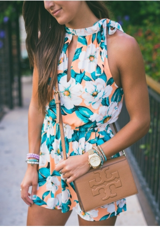 Floral Hollow Out Sleeveless Romper