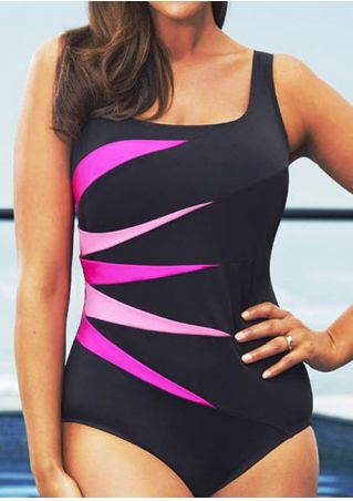 Color Block Splicing Backless Plus Size Swimsuit