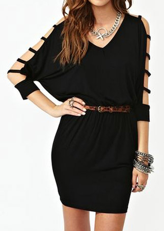 Solid Cut Out Mini Dress without Necklace and Belt