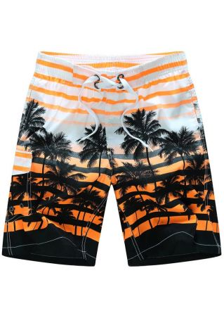 Coconut Tree Striped  Drawstring Shorts