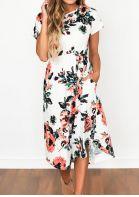 Floral Mid-Calf Casual Dress