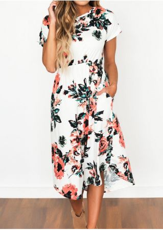 Floral Mid-Calf Casual Dress