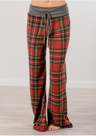 Plaid Drawstring Elastic Waist Flare Pants