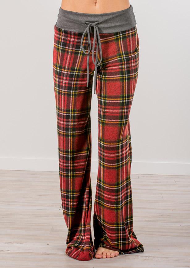 Plaid Drawstring Elastic Waist Flare Pants - Bellelily