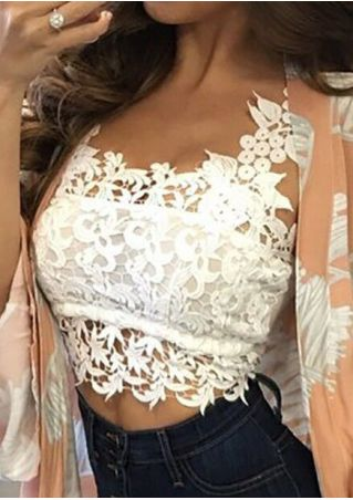 Solid Lace Floral Splicing Crop Top