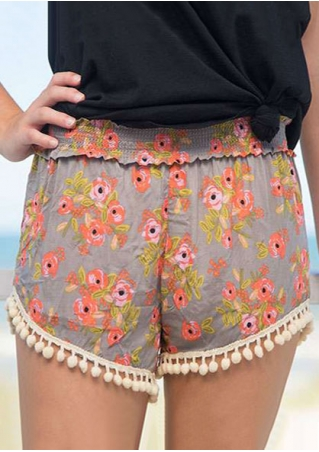 Floral Tassel Splicing Elastic Waist Shorts