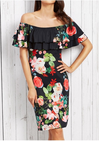 Floral Off Shoulder Layered Flouncing Mini Dress