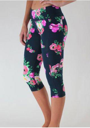 Floral Elastic Slim Sport Leggings
