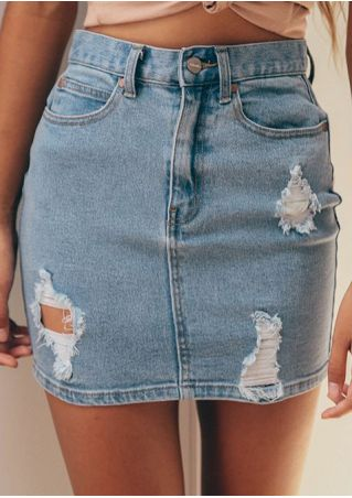 Solid Ripped Hole Button Denim Skirt