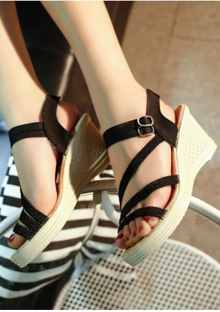 Buckle Elastic Band Wedge Sandals