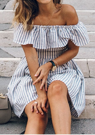 Striped Off Shoulder Flouncing Hollow Out Mini Dress without Necklace