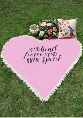 Kind Heart Fierce Mind Brave Spirit Tassel Beach Blanket