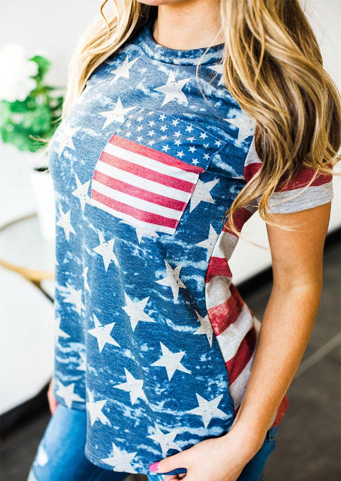 American Flag Pocket Short Sleeve T Shirt Bellelily