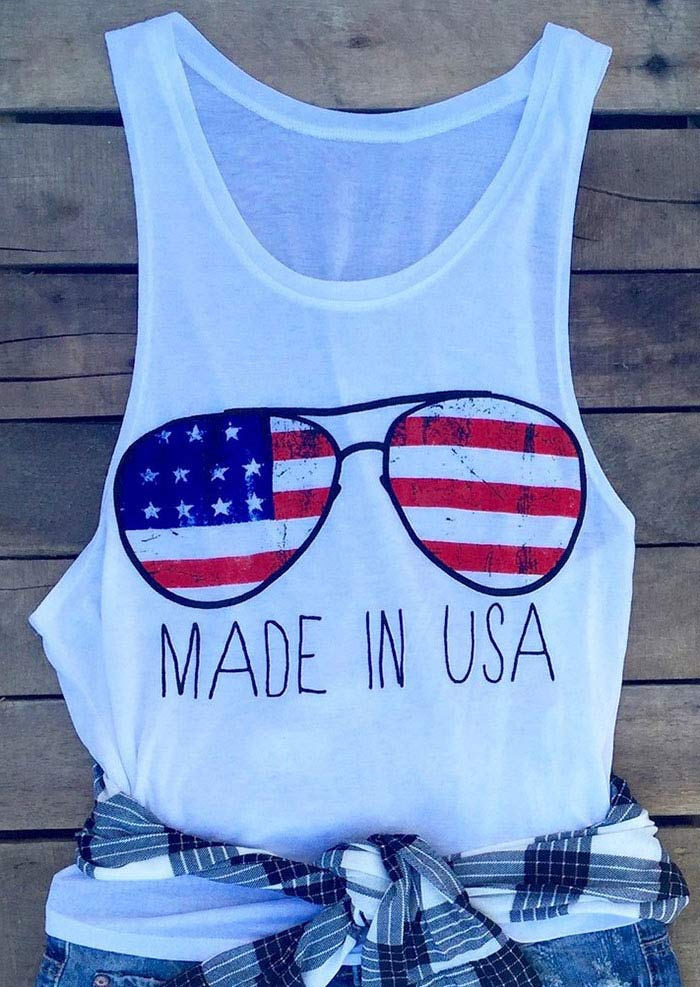 Eyewear Frames Made In Usa : Made In USA American Flag Glasses Tank - Bellelily