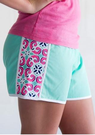 Printed Splicing Elastic Waist Shorts