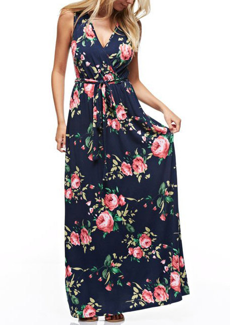 Floral Deep V-Neck Maxi Dress with Belt 124799