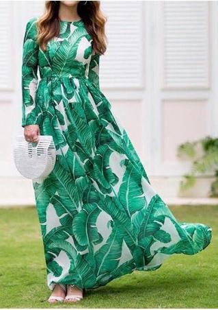 Leaf Ruffled Long Sleeve Maxi Dress