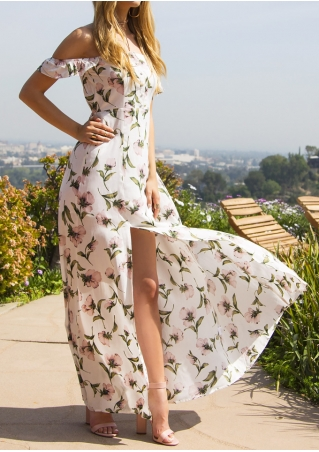 Floral Off Shoulder Slit Maxi Dress without Necklace