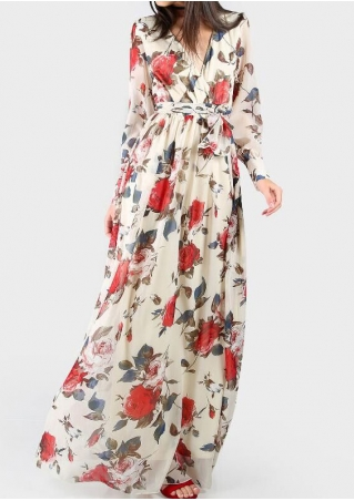 Floral Deep V-Neck Maxi Dress with Belt without Necklace