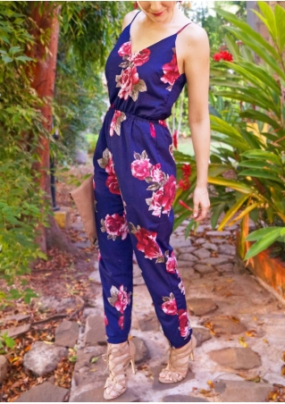 Floral Spaghetti Strap Backless Jumpsuit