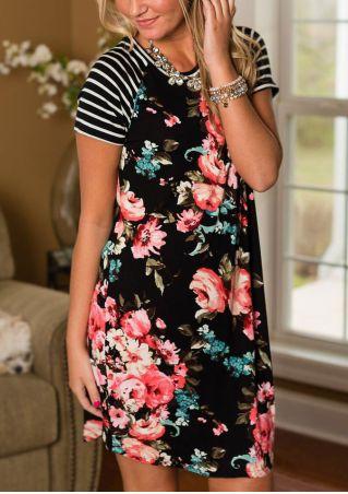 Floral Striped O-Neck Mini Dress