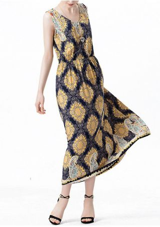 Printed V-Neck Sleeveless Maxi Dress with Necklace