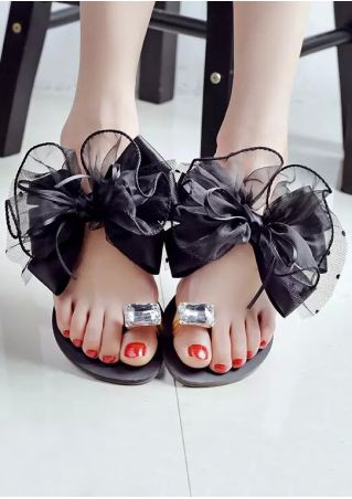 Bowknot Imitated Crystal Sandals