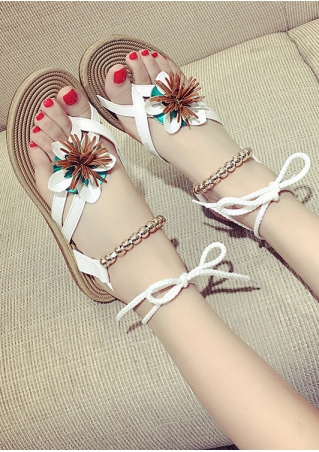 Flower Beading Ankel-Wrap Sandals